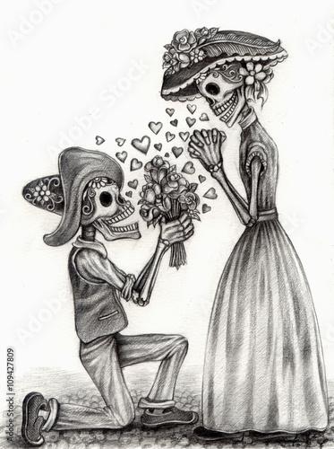 Plagát, Obraz Skull art day of the dead