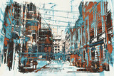 illustration painting of urban street with grunge texture - 109433019