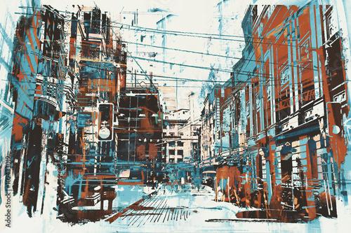 ilustracja-malarstwo-miejskiej-ulicy-z-grunge
