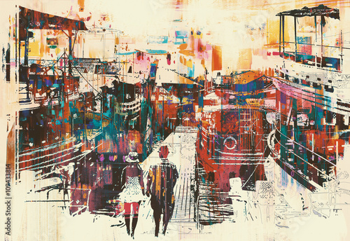 couple walking on harbor pier with colorful boats,illustration painting - 109433814