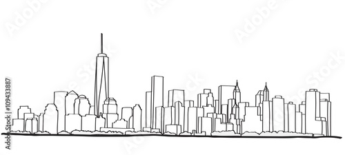 Free hand sketch of New York City skyline. Vector illustration eps 10. - 109433887