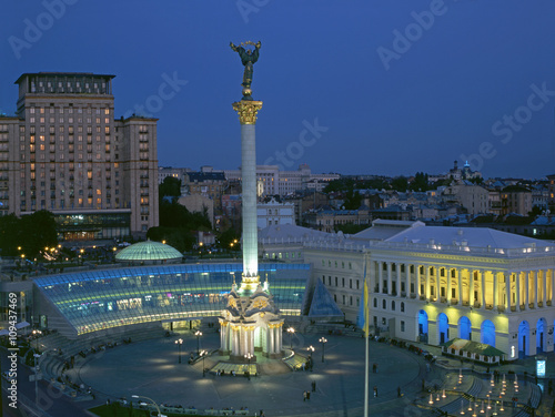 Foto op Canvas Kiev Maidan Nezalezhnosti square at evening