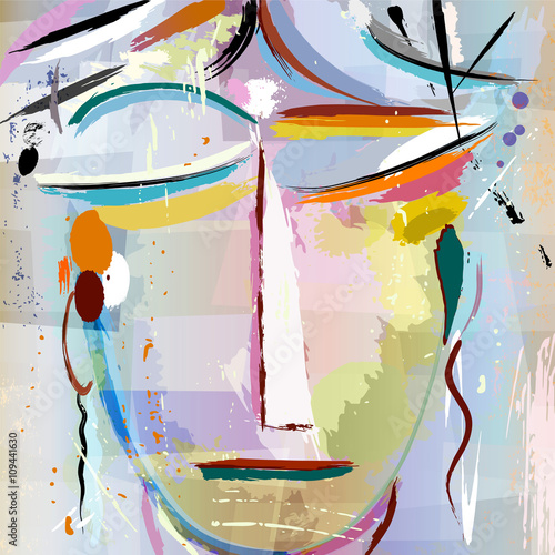 abstract face of a woman,artwork abstract style © Kirsten Hinte