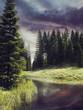 Kolorowy krajobraz z rzeką płynącą przez las