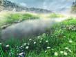 Jezioro i wiosenna łąka w górach