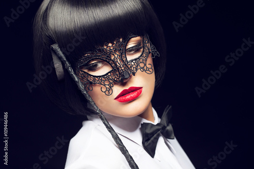 Sexy woman with whip and mask Poster
