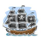 Vector logo pirate sailing ship, sailboat, sailer, vessel, sailing, barque, craft, frigate, caravel, galleon, schooner, floating blue sea, ocean, waves. Cartoon pirate sailing old vessel Jolly Roger