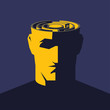 Постер, плакат: Brain maze Male open head with labyrinth inside Psychology concept vector illustration