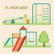 Kids playground.Kindergarten playground with swings, slide, rope, toy giraffe. Vector flat illustration.