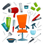 Beauty salon equipment, isolated on white objects set, cartoon vector illustration