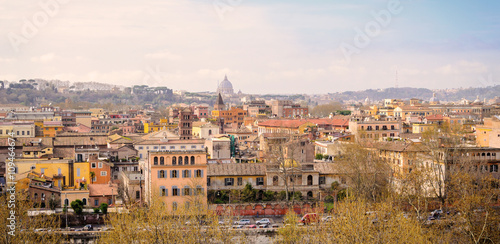 Poster Rome panorama with monument and domes, Italy