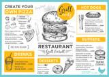 Fototapety Restaurant cafe menu, template design.