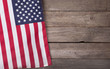 Quadro United States Flag on Wooden Background with Copy Space