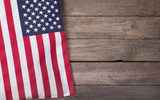 United States Flag on Wooden Background with Copy Space - 109470846