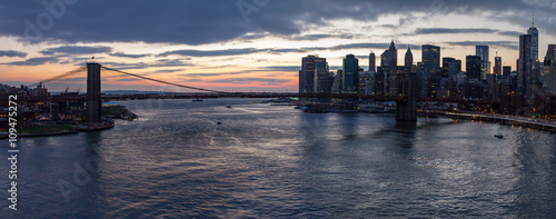 Panoramic View of Brooklyn Bridge Sunset in New York City - 109475272