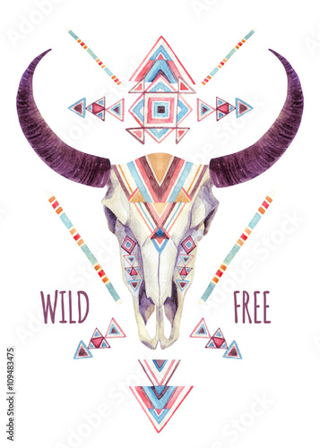 Cow skull in tribal style. Animal skull with ethnic ornament - 109483475