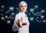 Business woman pressing technology panel fingerprint print wifi
