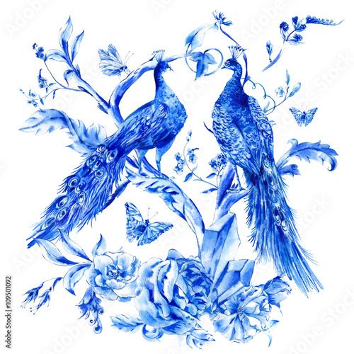 Fototapeta Vintage blue pair of peacocks with watercolor roses