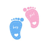 Baby footprints twin baby girl and boy vector