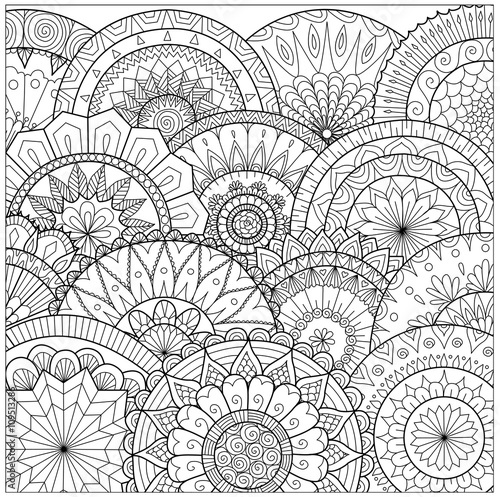 Poster Hand drawn zentangle floral background for coloring pag