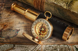 Vintage compass, telescope and map