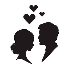 Silhouette of the woman and man on white background.