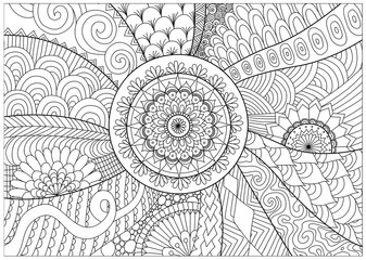 Hand drawn zentangle floral background for coloring pag