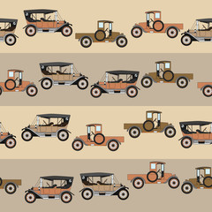 Background two cartoon retro car. Pattern Vector retro truck. Line with retro old cars.