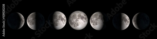 Moon phases collage isolated on black