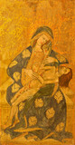 AVILA, SPAIN, APRIL - 18, 2016:The Pieta painting on the wood in Catedral de Cristo Salvador by unknown artis of 15. cent.