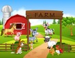 Farm background with animals