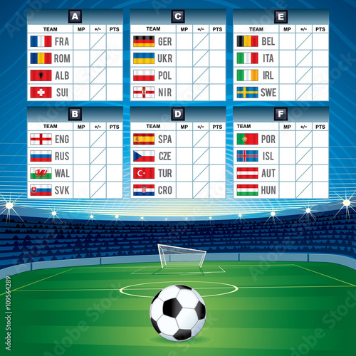 Euro soccer table with flags vector design stock image - European football tables latest ...