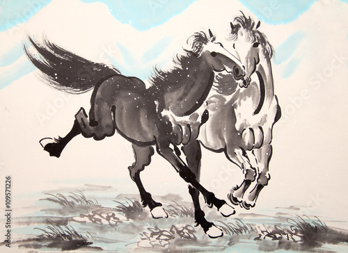 Chinese ink horse drawing