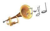 Trompete mit Noten und Notenschlüssel, freigestellt