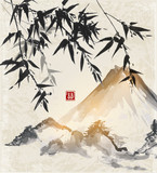 Bamboo and mountains. Traditional Japanese ink painting sumi-e. Contains hieroglyph - double luck.