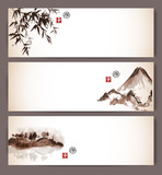 Fototapety Three banners with bamboo, mountains and island with trees. Contains hieroglyphs - happiness. luck