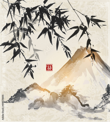 Fototapeta Bamboo and mountains. Traditional Japanese ink painting sumi-e. Contains hieroglyph - double luck.