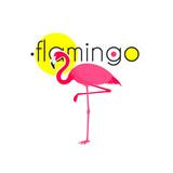 Pink Flamingo Resort Emblem Flat Icon