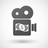 Isolated cinema camera icon with a dollar bank note