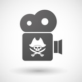 Isolated cinema camera icon with a pirate skull