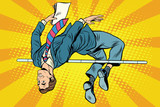 Businessman high jump