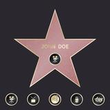Walk of fame star with emblems symbolize five categories. Vector set
