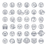 Fototapety Smiley face thin lines flat vector icons set. Emoji emoticons. Different  facial emotions and expression linear symbols. Cute ball cartoon character mood and reactions for text chat and web messenger