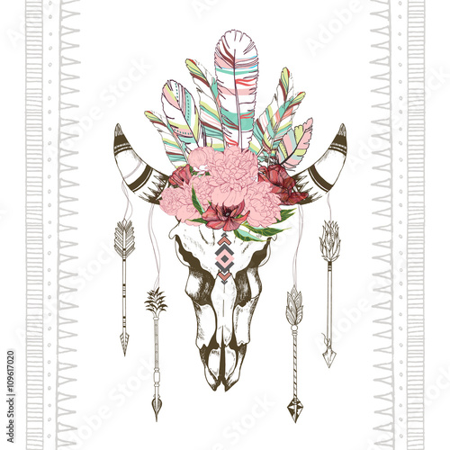 vector-fashion-boho-chick-style-goat-skull-with-flower-feather-wreath-and-arrow-traditional-bohemian-deoration-use-for-poster-party-fashion-events-promotion-shop-store-design