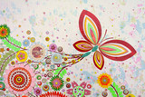 Spring background with flower blossom and butterfly.