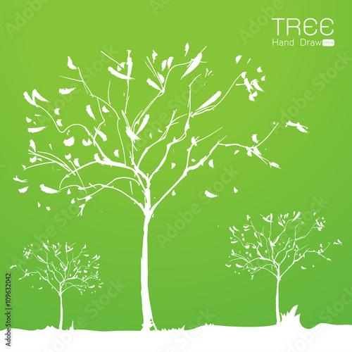 Fototapeta Landscape with tree at sun set hand draw