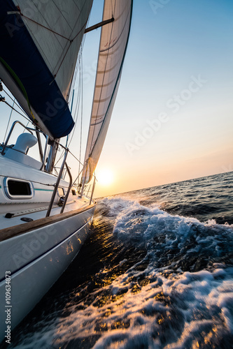 Sailing yacht in the sea
