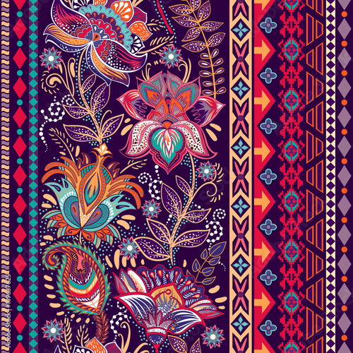 Vector colorful border. Floral decorative pattern. - 109637625