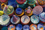 Traditional Moroccan pottery in a street market