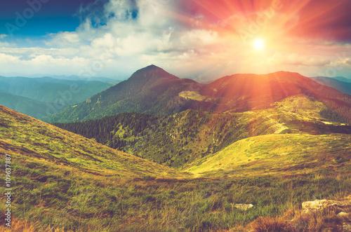 Beautiful panoramic mountain landscape at sunset. - 109637887